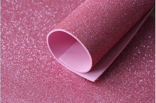 Розовый глиттерный фоамиран 2 мм