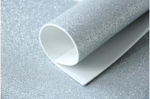 Серебро глиттерный фоамиран 2 мм
