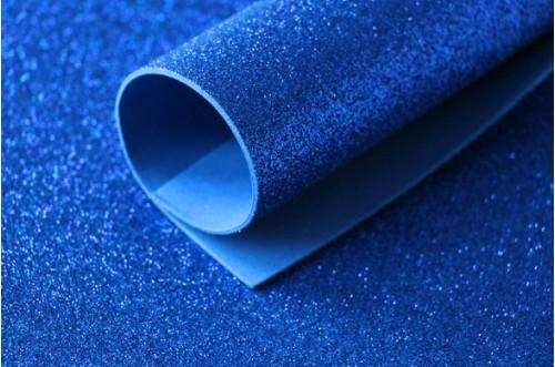 Синий глиттерный фоамиран 2 мм