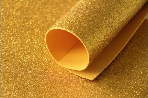Золото глиттерный фоамиран 2 мм